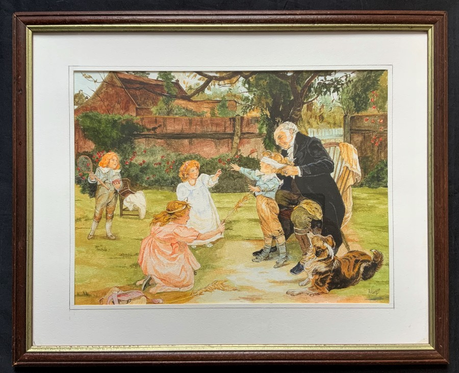 WONDERFUL 'J.Morgan' CHILD'S PLAY original 20thc Vintage Watercolour Painting