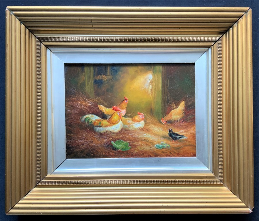 'J Jackson' OUTSTANDING Gilt Framed 19th Century Farmyard Chickens Oil Painting