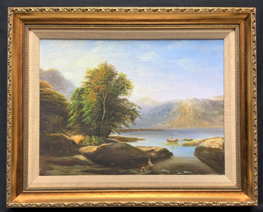 Original Mid-20thc Signed Mountainous Landscape Oil Painting with fishing Family