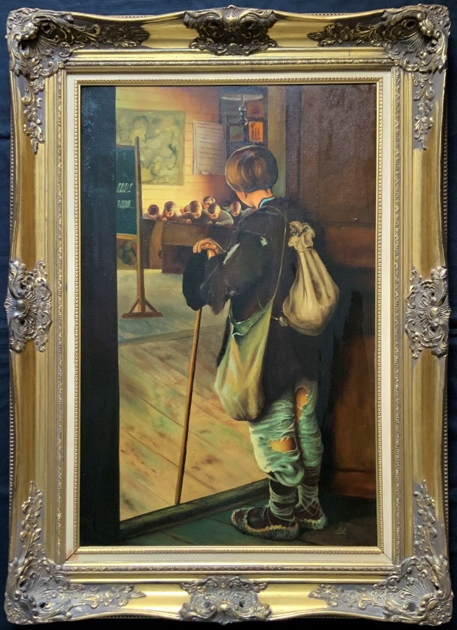 Fabulous 'Very Large' Original 20thc Oil Portrait Painting Of A Classroom Urchin