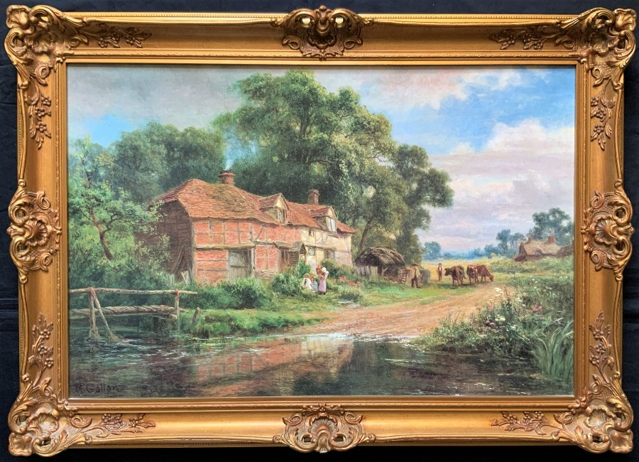 Decorative 20th Century English Country Landscape Framed Print On Board Picture
