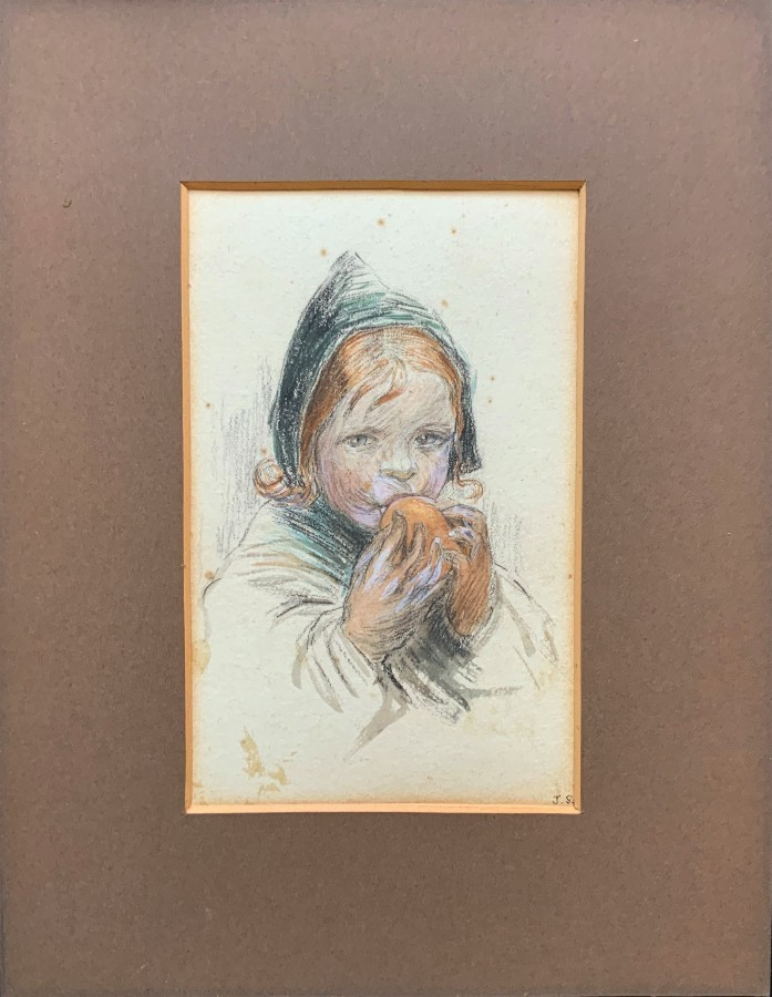 Antique Small Original Watercolour Portrait Painting - Edwardian - A Young Baby Feeding
