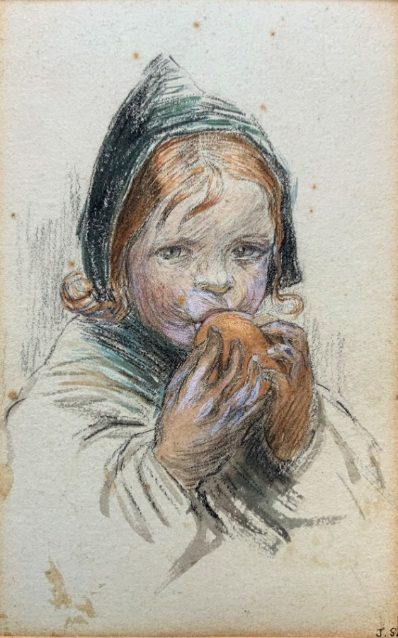 Small Original Watercolour Portrait Painting - Edwardian - A Young Baby Feeding