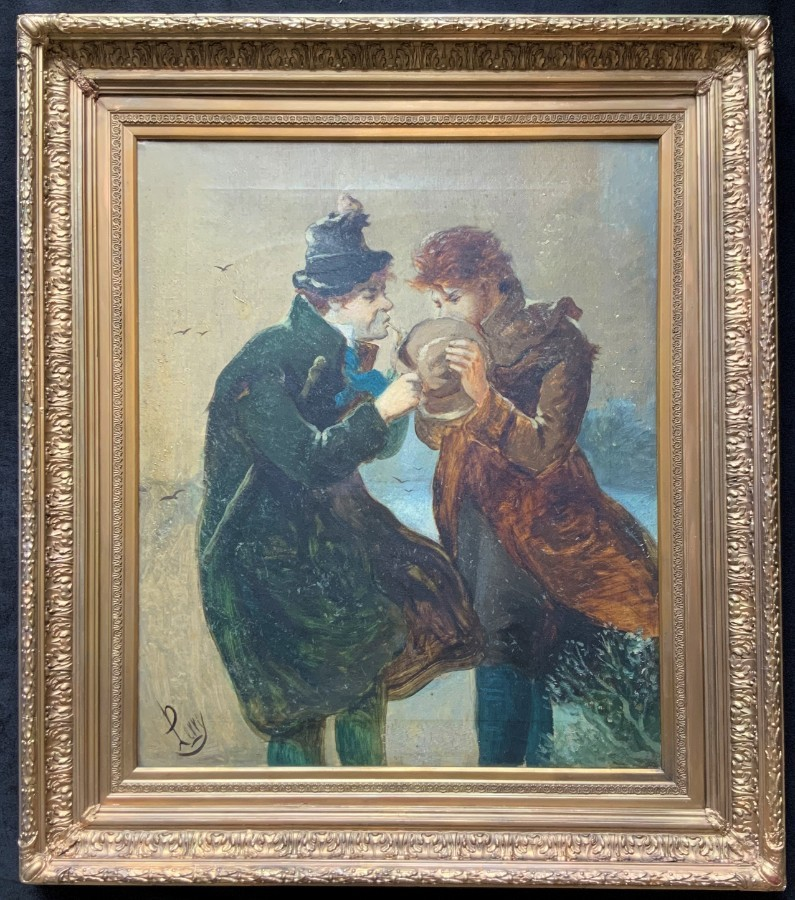 Incredible V.Large Original 19thc Impressionist Oil ''A Difficult Job'' B. Perry'