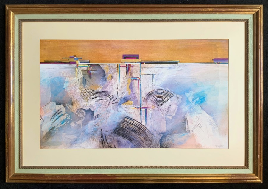 'John Douglas' Large Superb Framed Contemporary Abstract Mixed Media Lithograph