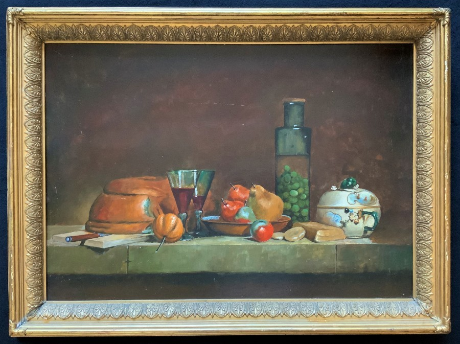 Beautiful Large Original 1900's Still Life Fruit & Wine Study Oil Painting