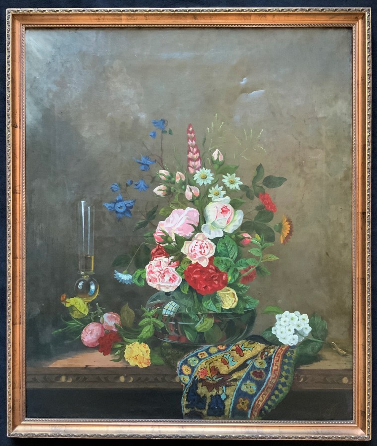 Lovely Large Original 19thc French Floral Still Life Oil Painting for Minor TLC