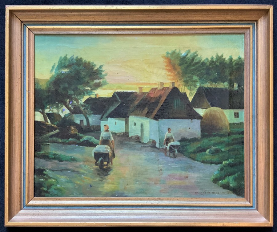 Possibly Irish? Unusual Original Signed Mid-20thc Oil On Canvas Village Painting