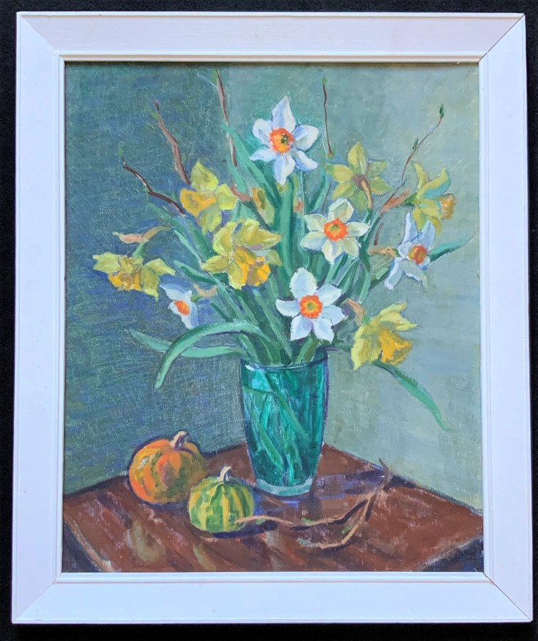 Original 20thc Vintage Impressionist Daffodile Still Life Study Oil Painting