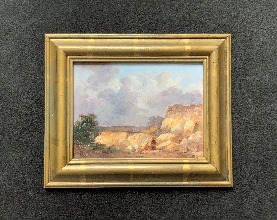Manner of 'JMW Turner' Enchanting Original 20thc Quarry Landscape Oil Painting