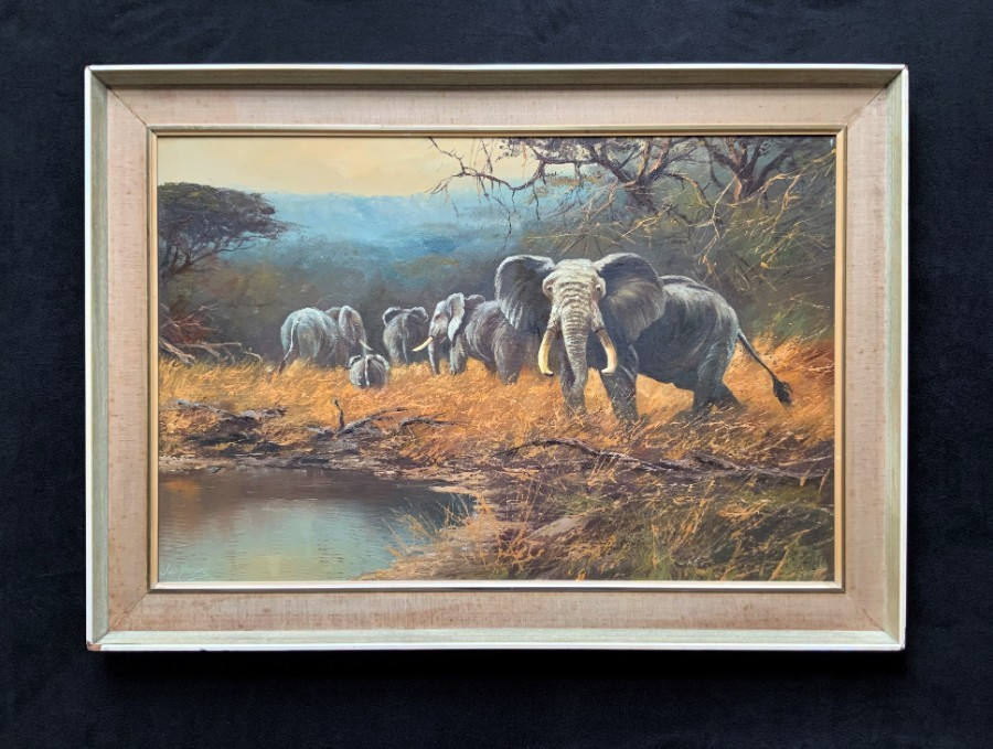 Antique Rare ORIGINAL 20th Century Vintage Wildlife Elephant Herd Oil Painting - Large