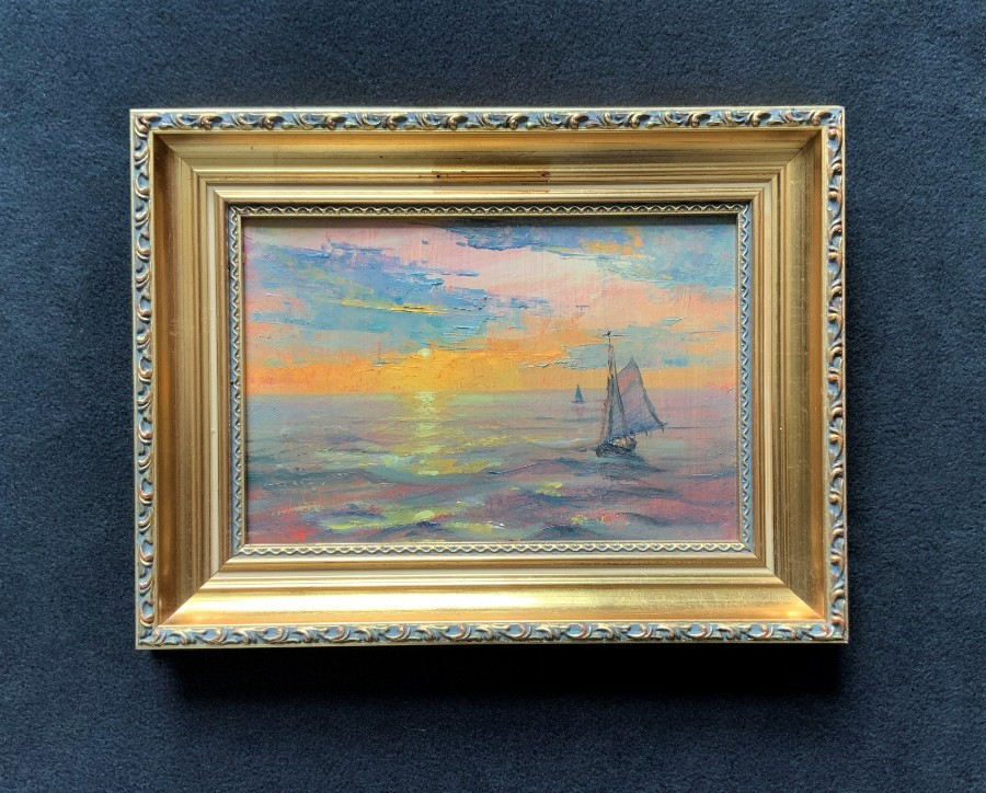 Antique 'Roberto Ponte' Contemporary Moonlit Seascape / Sailing Oil on Board Painting