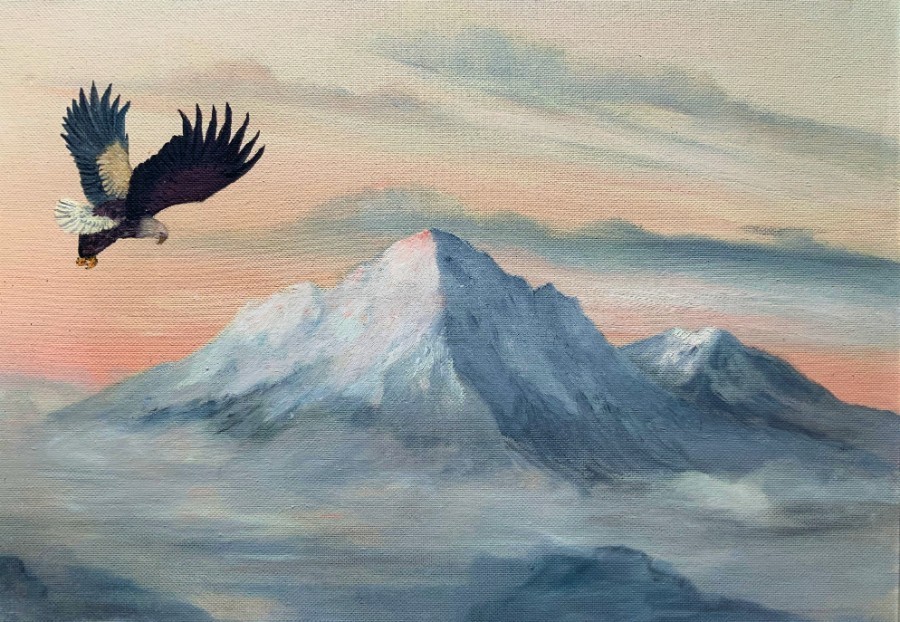 Antique Original Vintage 1960's Bald Eagle In Flight Mountainous Landscape Oil Painting