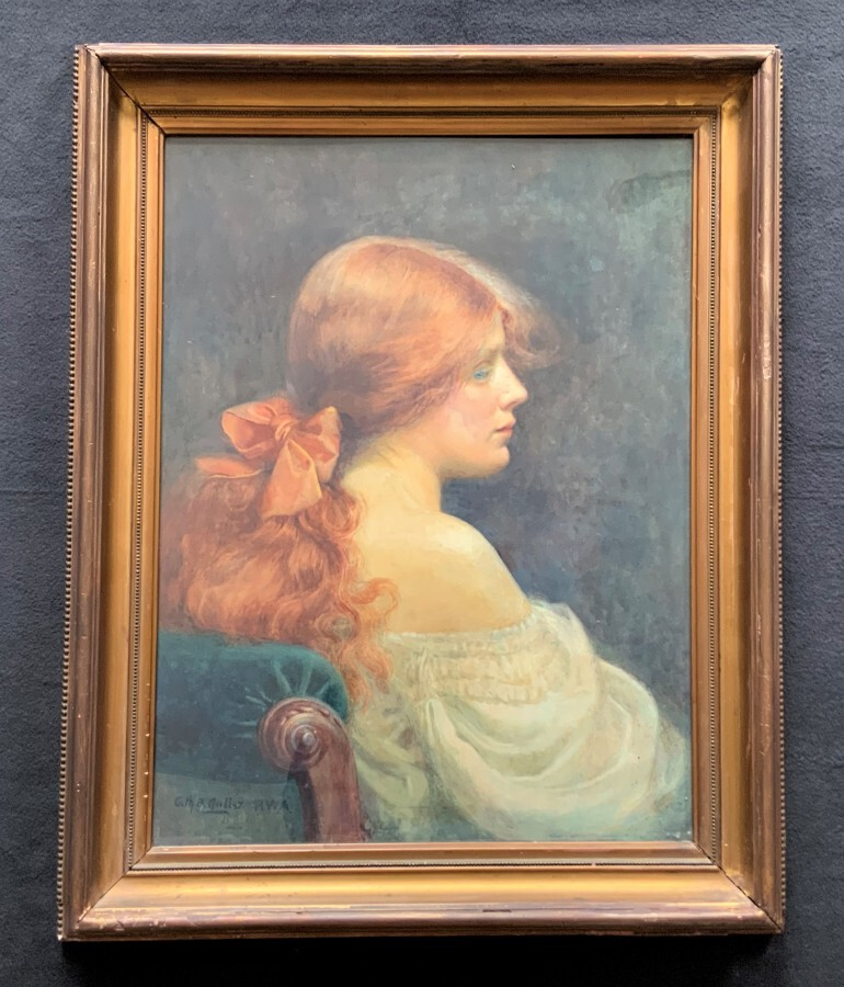 RA Listed 'Catherine B Gulley' (fl 1908–1962) Pre-Raphaelite Portrait Painting