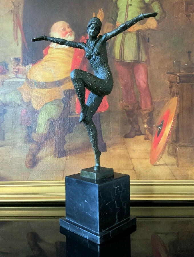 Incredible Tall Solid Bronze & Marble Art-Deco Ballerina Dancer Statue Figurine