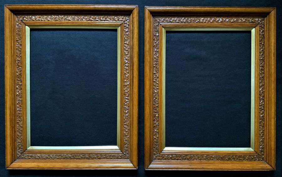 Antique Stunning Matching Pair Of 19thc Golden Oak Antique Picture Or Mirror Frames