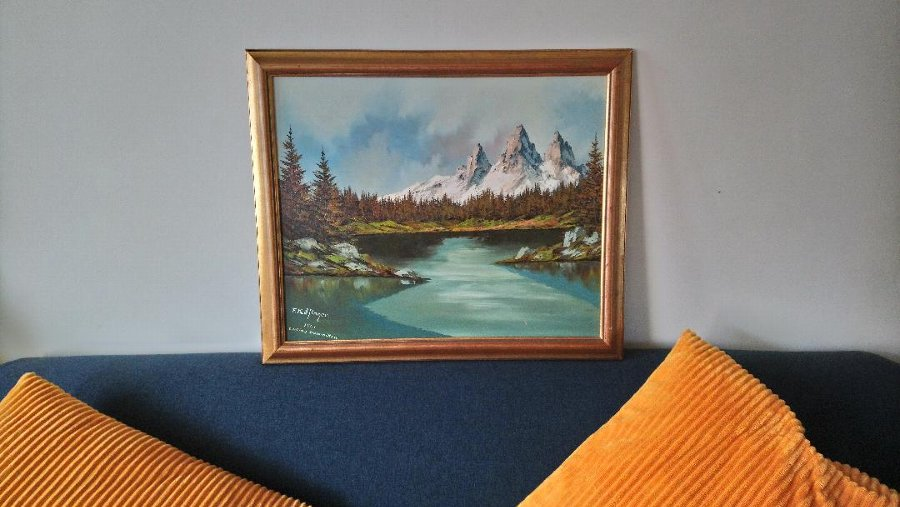 F Kafinger Mid Century Oil Painting of the Italian Alps 1961
