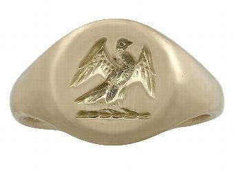 18 ct Yellow Gold Signet Ring - Antique 1920