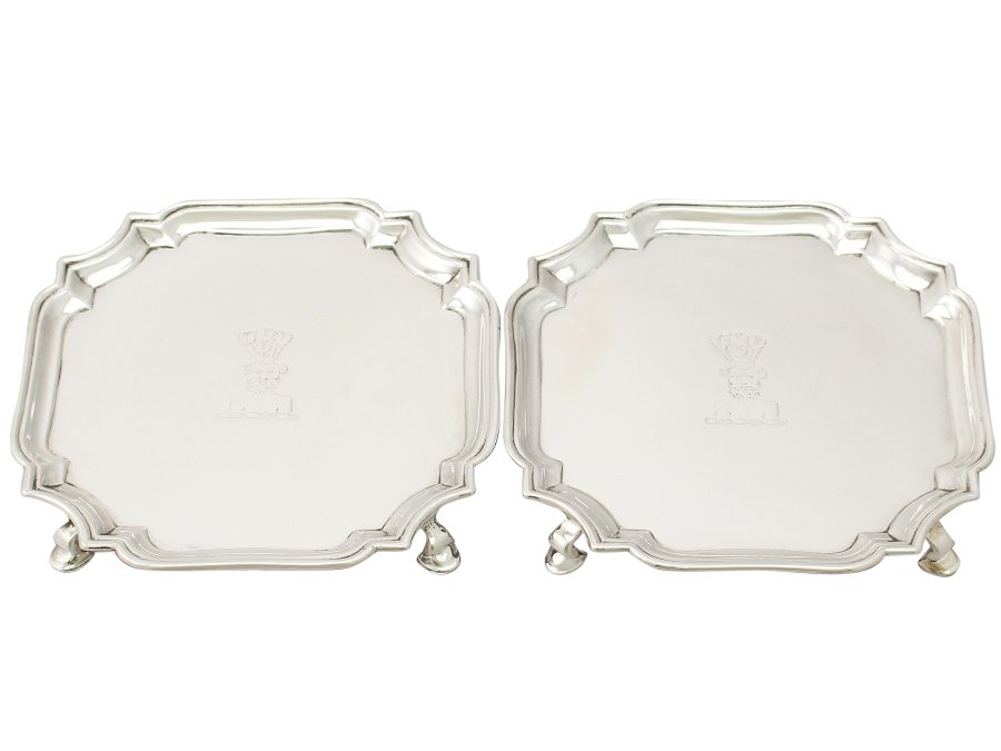Sterling Silver Waiters - Antique George II (1730)