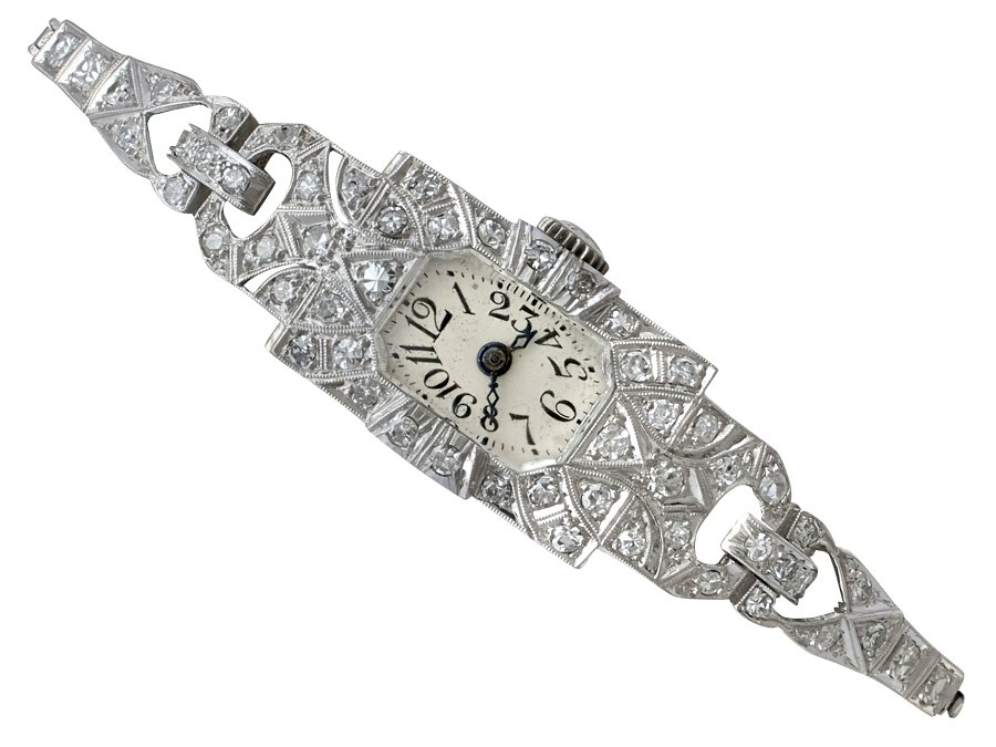 1.86ct Diamond and Platinum Ladies Cocktail Watch - Art Deco - Antique Circa 1920