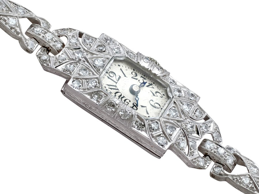 Antique 1.86ct Diamond and Platinum Ladies Cocktail Watch - Art Deco - Antique Circa 1920