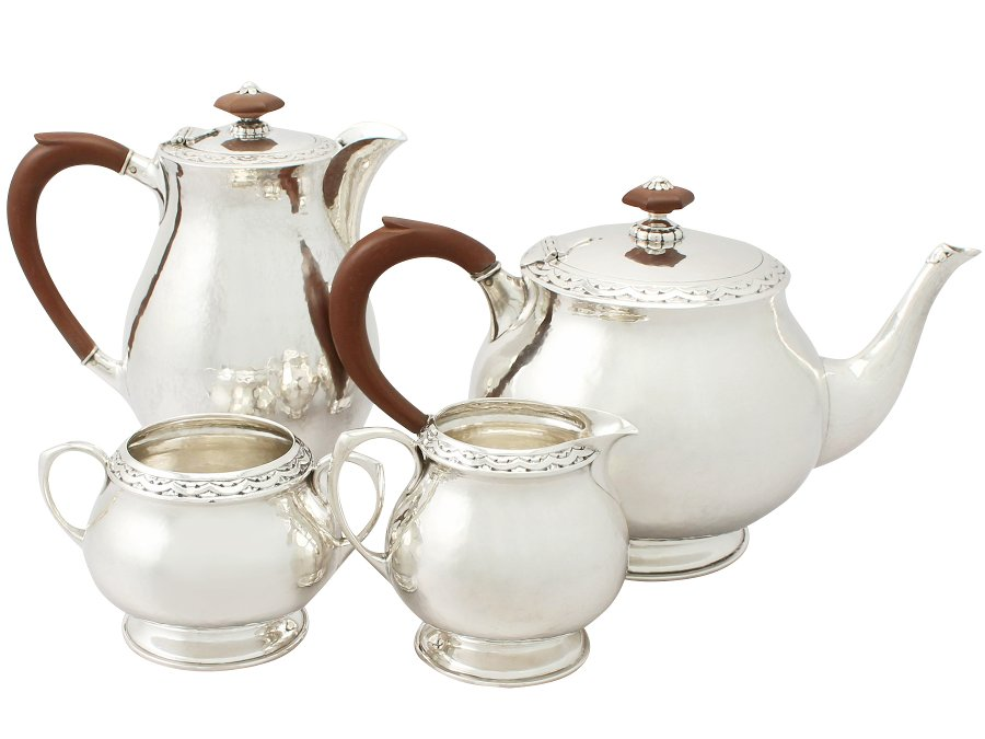Sterling Silver Four Piece Tea / Coffee Service - Art Nouveau Style - Liberty & Co - Antique (1930)