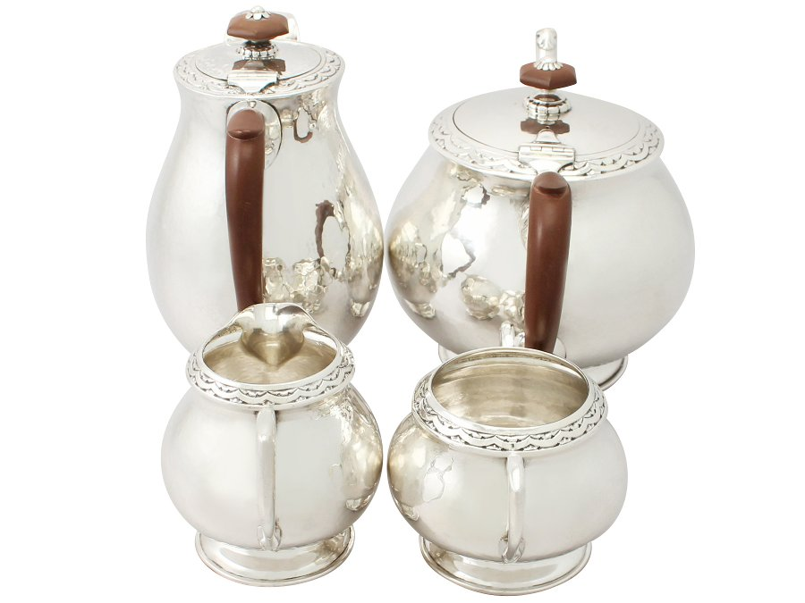 Antique Sterling Silver Four Piece Tea / Coffee Service - Art Nouveau Style - Liberty & Co - Antique (1930)