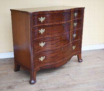 Antique 18th Century George III Mahogany Serpentine Chest of Drawers