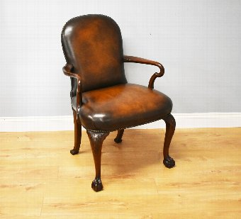 Antique 20th Century Georgian Style Leather Armchair