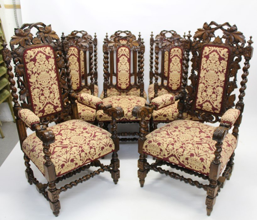 Set Eight Oak Victorian Chairs