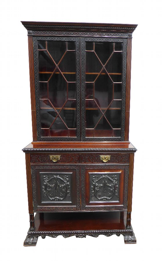 20th Century Victorian Mahogany Blind Fretwork Bookcase