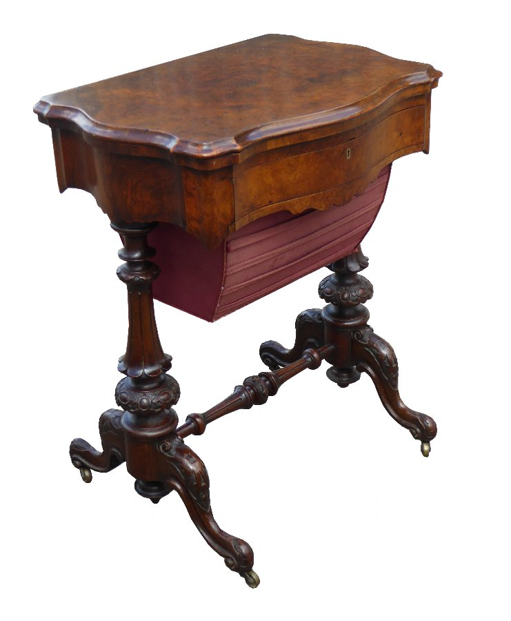 19th Century Victorian Burr Walnut Work Table / Games Table