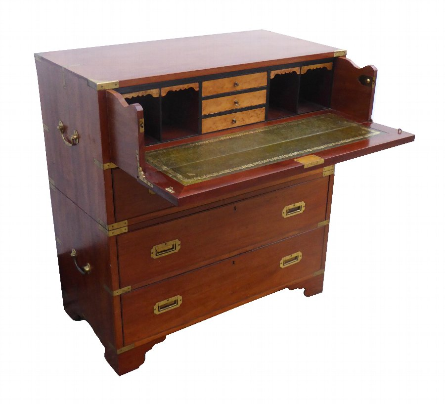 19th Century Victorian Secretaire Campaign Chest