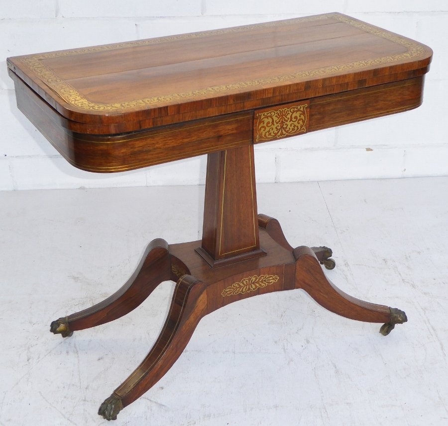 19th Century Regency Rosewood and Brass Inlaid Card Table