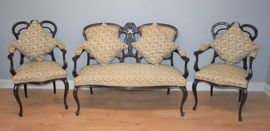 Edwardian Mahogany Three Piece Salon Suite