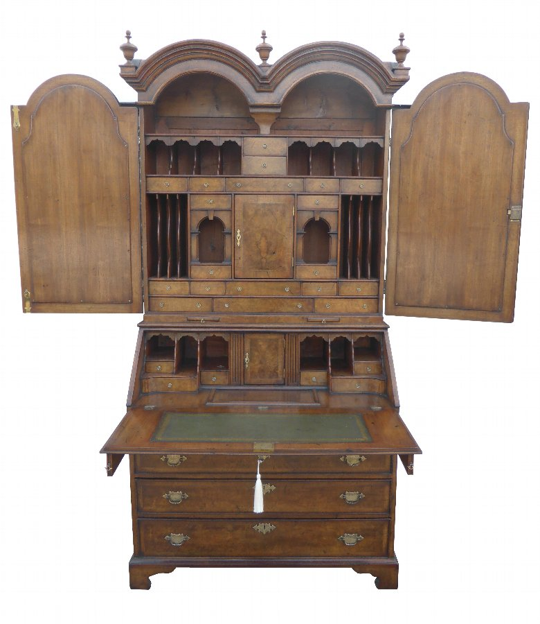 Queen Anne Revival Burr Walnut Bookcase
