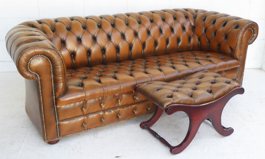 20th Century Leather Chesterfield & Stool