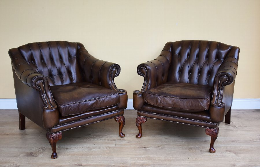 Pair of 20th Century Leather Armchairs