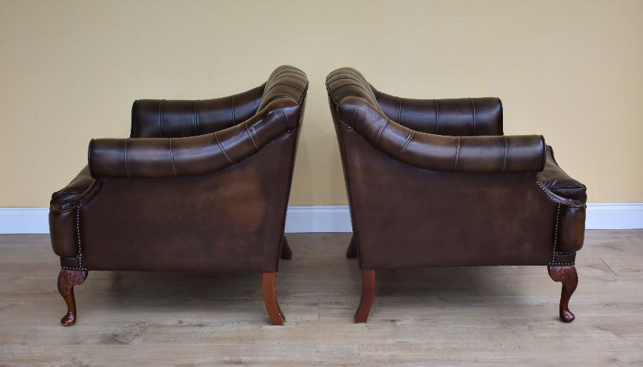 Antique Pair of 20th Century Leather Armchairs