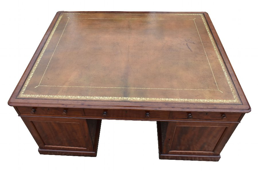 Antique 19th Century Victorian Mahogany Partners Desk