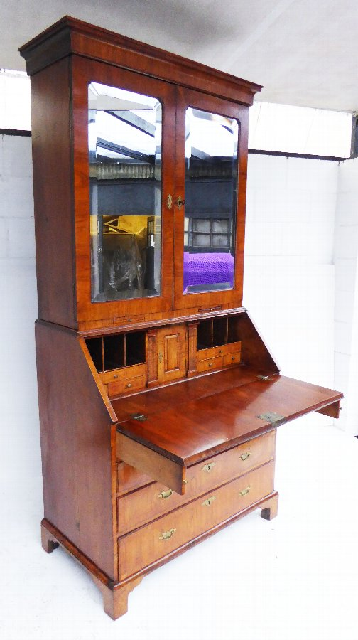George II Figured Walnut Bureau Bookcase