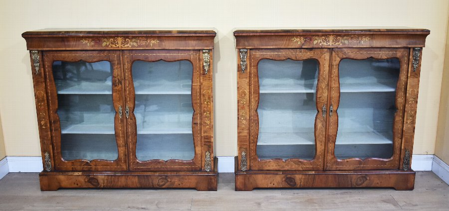 Pair of 19th Century Victorian Walnut Pier Cabinets
