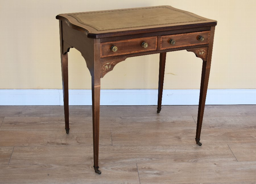 Edwardian Inlaid Leather Top Writing Table