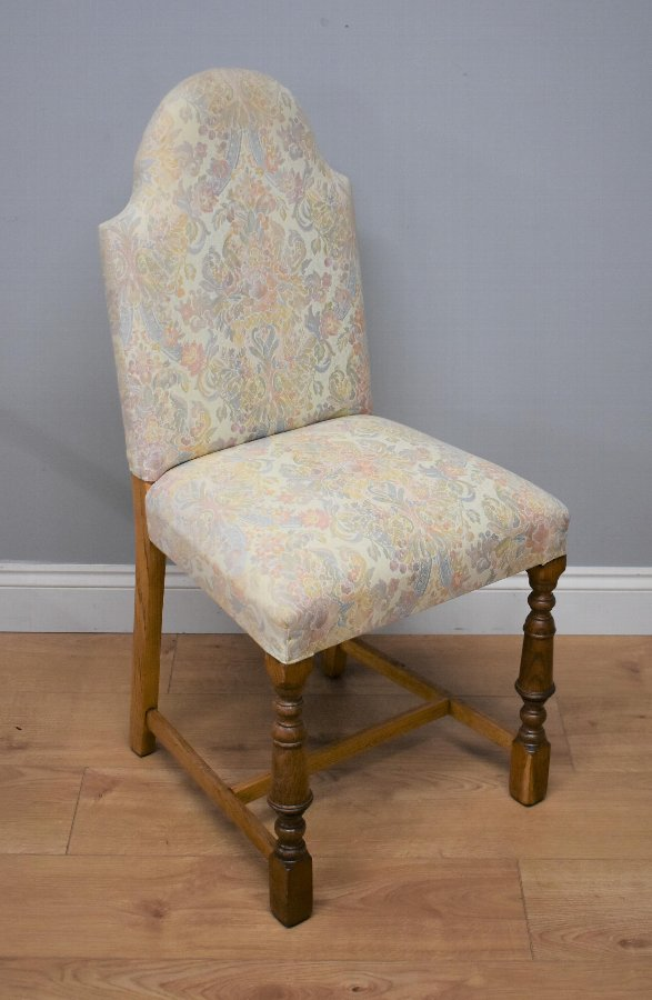 Antique Set Six Oak Upholstered Chairs