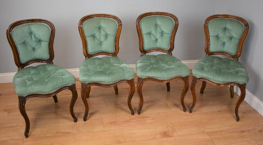 Antique Set Four French Beech Dining Chairs