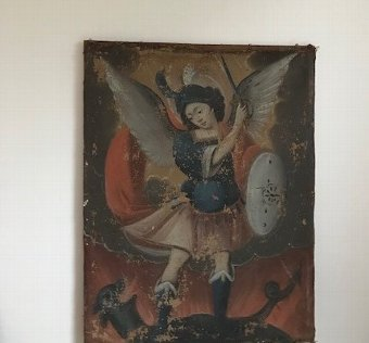 Antique 17th century Cusco Painting of St Michael slaying the devil