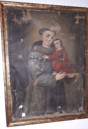 Antique Oil Painting on canvas of St Anthony of Padua