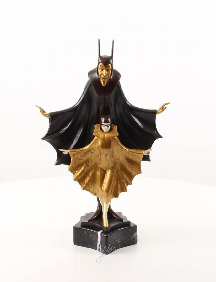 Satanella - Cold painted bronze sculpture Art Deco style
