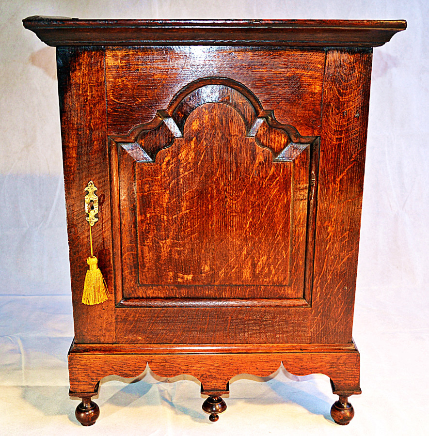 A Small 18th Century Oak Spice Cabinet with Key, circa 1780
