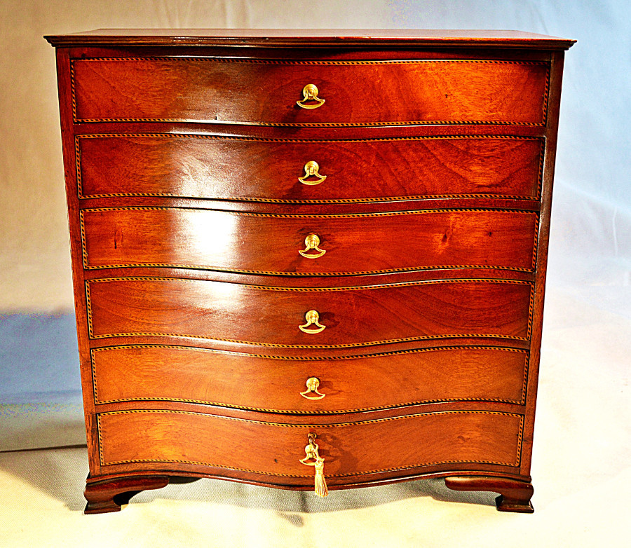 19th Century, Georgian style Apprentice Miniature Serpentine Chest of Drawers